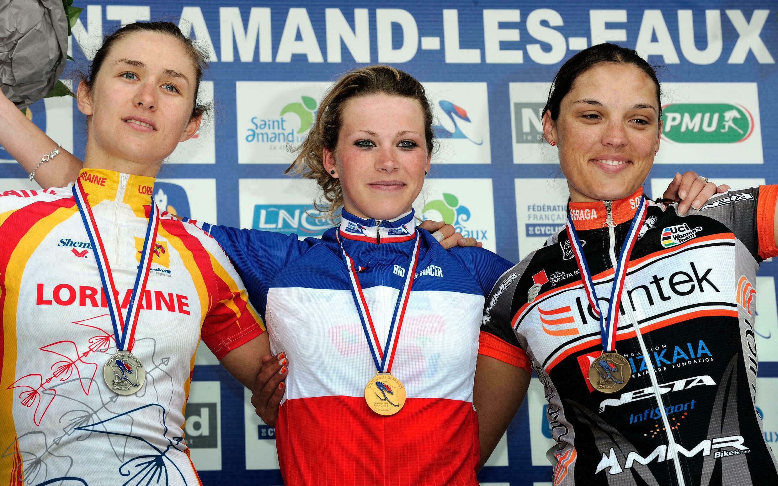 Marion Rousse during her victory at the French road cycling championships in 2012.
